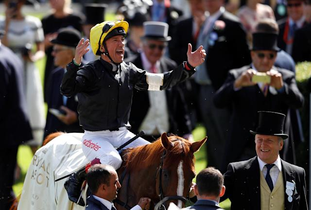 Horse Racing - Royal Ascot - Ascot Racecourse, Ascot, Britain - June 21, 2018 Frankie Dettori celebrates on Stradivarius after winning the 4.20 Gold Cup REUTERS/Peter Nicholls