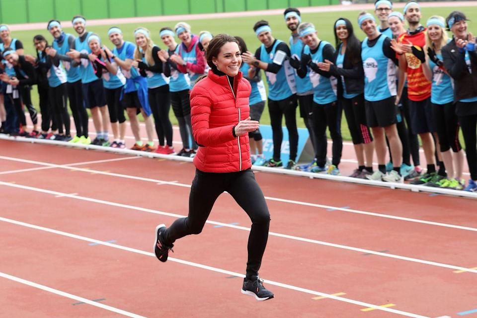 "<p>The Duchess trades in her usual formal style for sneakers and workout clothes for a relay race at <a href=""https://www.harpersbazaar.com/uk/culture/culture-news/news/g37608/william-kate-harry-charity-marathon-relay-race/"" rel=""nofollow noopener"" target=""_blank"" data-ylk=""slk:London Marathon Training Day"" class=""link rapid-noclick-resp"">London Marathon Training Day</a> at the Queen Elizabeth Olympic Park.</p>"