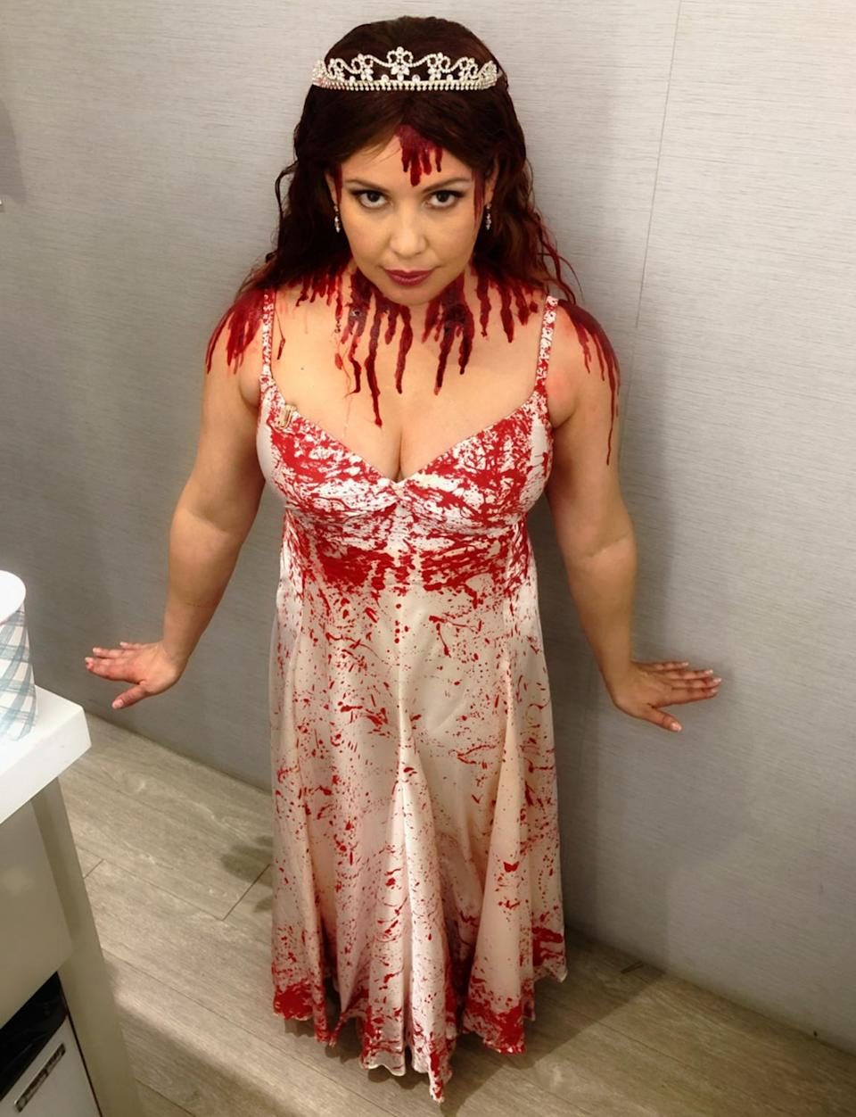 <p>The <em>One Day At a Time </em>star makes a pretty convincing Carrie! </p>