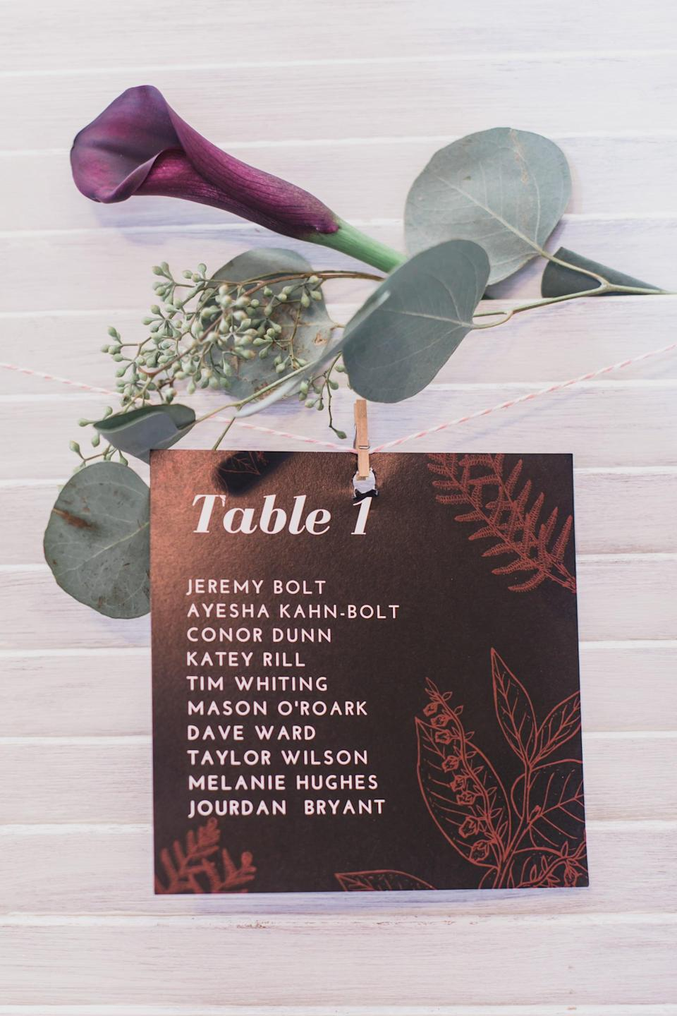 """<p>To make <a class=""""link rapid-noclick-resp"""" href=""""https://www.popsugar.com/latest/DIY"""" rel=""""nofollow noopener"""" target=""""_blank"""" data-ylk=""""slk:DIY"""">DIY</a> table cards, simply print out pieces of paper with everyone's names on them (or handwrite them), find little clothespins and attach the paper to a piece of string, and hang the cards at each table.</p>"""
