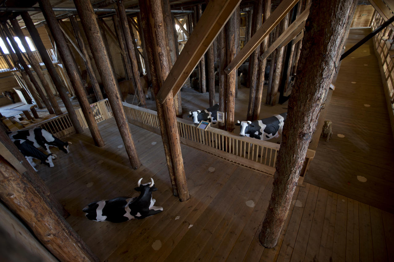 Interior view of the full scale replica of Noah's Ark with life-size replica's of animals which has opened its doors in Dordrecht, Netherlands, Monday Dec. 10, 2012, after receiving permission to receive up to 3,000 visitors per day. (AP Photo/Peter Dejong)