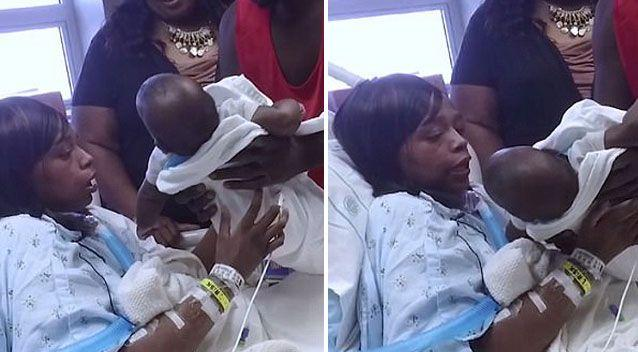 Ms Gaither holds her boy for the first time. Source: Carolinas HealthCare System