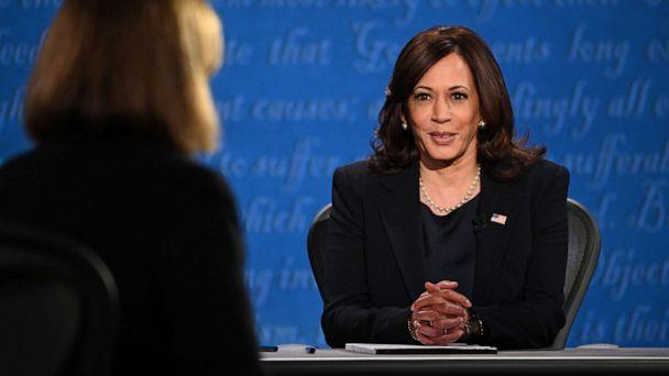 PHOTO: Democratic vice presidential nominee Kamala Harris arrives on stage for the vice presidential debate in Kingsbury Hall at the University of Utah, Oct. 7, 2020, in Salt Lake City. (Robyn Beck/AFP via Getty Images)