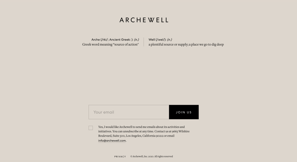 The couple's landing page on their new website. (Archewell)
