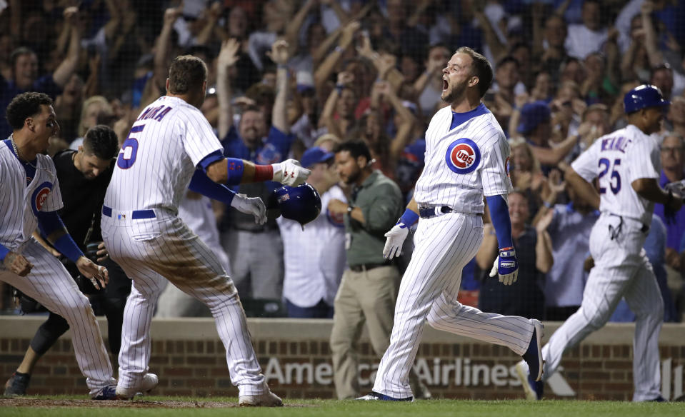 David Bote lived the baseball dream Sunday for the Cubs. (AP Photo)