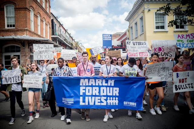 <p>People take part in the March For Our Lives rally against gun violence in New Orleans, Louisiana on March 24, 2018. (Emily Kask/AFP/Getty Images) </p>