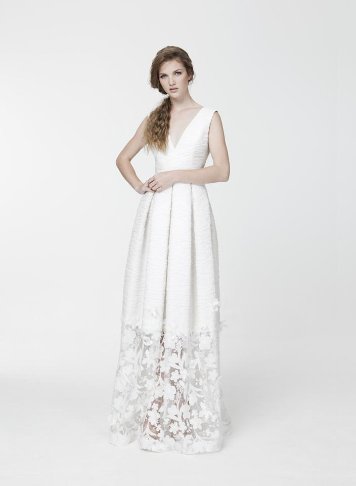 "<p>Feminine and modern with a dash of edge, <a rel=""nofollow"" href=""http://santoscostura.com/lookbook?mbid=synd_yahoostyle"">Santos Costura's designs</a> are empowering creations. Barcelona-based, it's no surprise that this couture fashion house produces wedding dresses of exquisite quality. He loves to experiment with textures for a unique look, whether it's lace, metallic embroidery, or a bodice of feathers but still manages to imbue a sense of simplicity.</p>"