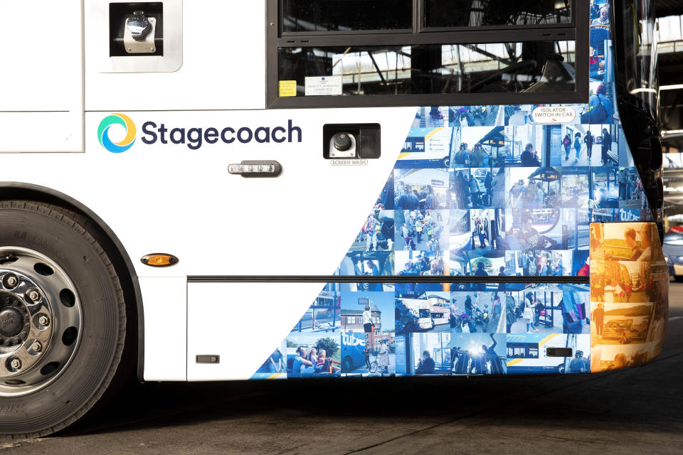 EMBARGOED TO 0001 THURSDAY JANUARY 30 EDITORIAL USE ONLY A one-of-a-kind mosaic bus livery, which features the faces of Stagecoach customers and drivers from across the UK, is unveiled to celebrate the launch of its new look bus design in its 40th year of service, at the Chesterfield depot in Derbyshire.