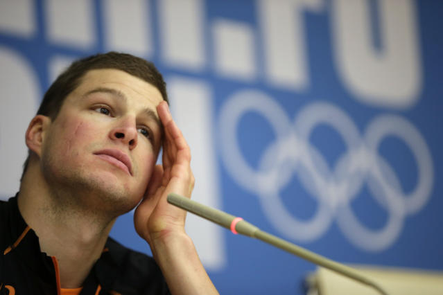 Speedskater Sven Kramer of the Netherlands gestures during a press conference at the 2014 Winter Olympics in Sochi, Russia, Wednesday, Feb. 5, 2014. (AP Photo/Matt Dunham)