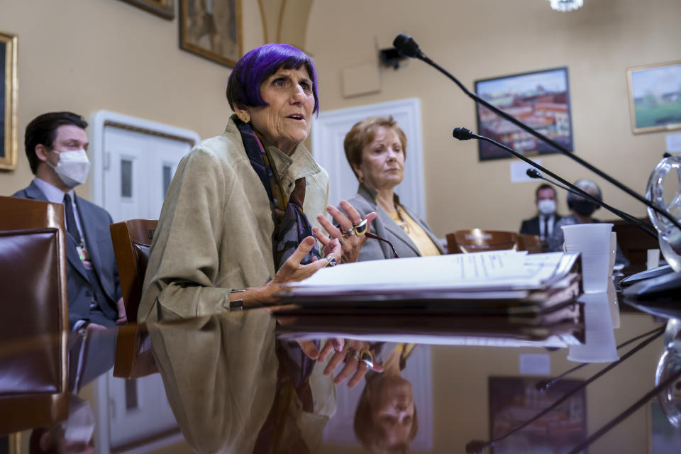 House Appropriations Committee Chair Rosa DeLauro, D-Conn., left, joined by Rep. Kay Granger, R-Texas, the ranking member of Appropriations, appear before the House Rules Committee as they field questions about the politics of the federal debt, at the Capitol in Washington, Tuesday, Sept. 21, 2021. (AP Photo/J. Scott Applewhite)