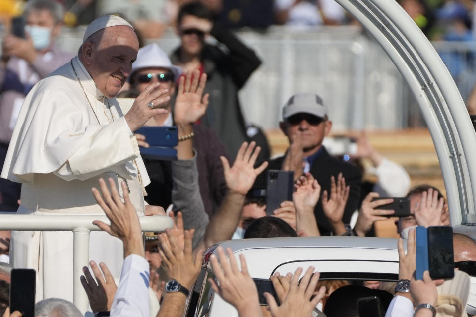 Pope Francis arrives to celebrate a Mass in the esplanade of the National Shrine in Sastin, Slovakia, Wednesday, Sept. 15, 2021. Pope Francis celebrates an open air Mass in Sastin, the site of an annual pilgrimage each September 15 to venerate Slovakia's patron, Our Lady of Sorrows. (AP Photo/Gregorio Borgia)