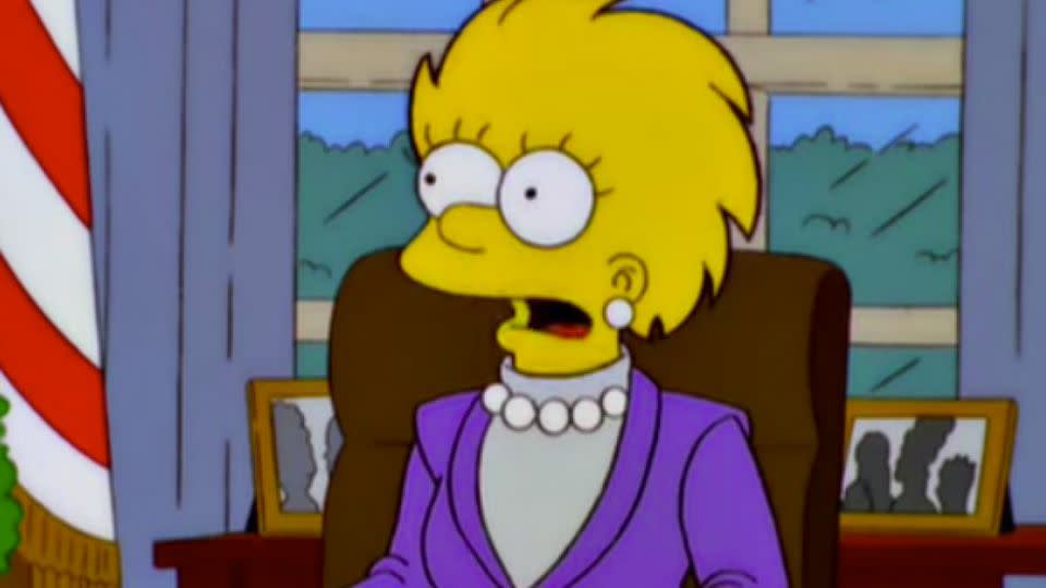 Lisa Simpson portrayed as the US President in The Simpsons episode Bart to the Future.