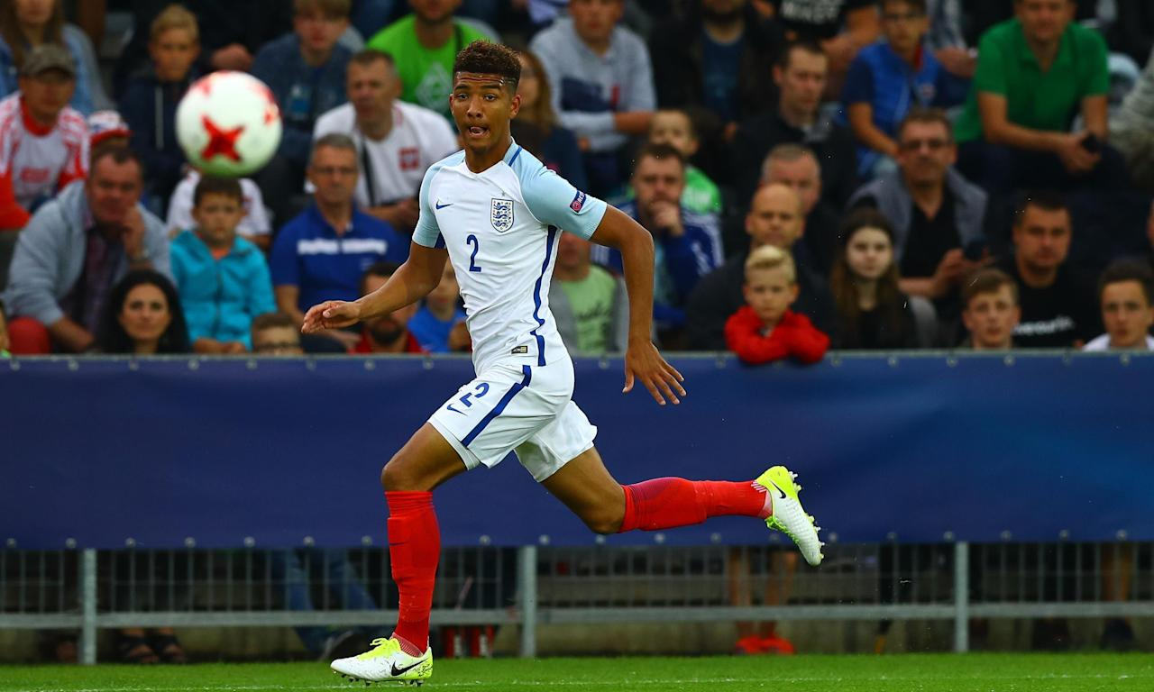 Mason Holgate keeps his eye on the ball during England's Under-21s' stalemate against Sweden.