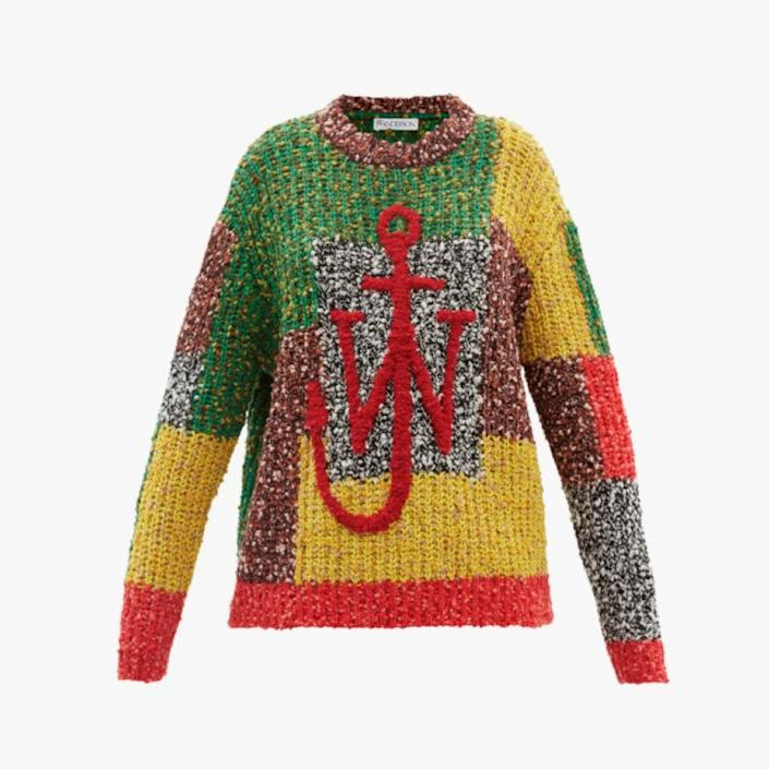 """$1515, MATCHESFASHION.COM. <a href=""""https://www.matchesfashion.com/us/products/JW-Anderson-Anchor-logo-patchwork-sweater--1427008"""" rel=""""nofollow noopener"""" target=""""_blank"""" data-ylk=""""slk:Get it now!"""" class=""""link rapid-noclick-resp"""">Get it now!</a>"""