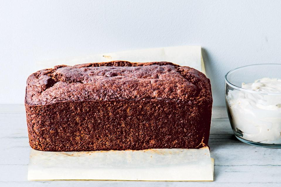 """Earthy, nutrient-rich whole grain flours give this classic banana loaf cake recipe some added personality. <a href=""""https://www.epicurious.com/recipes/food/views/buckwheat-banana-cake-with-yogurt-espresso-frosting?mbid=synd_yahoo_rss"""" rel=""""nofollow noopener"""" target=""""_blank"""" data-ylk=""""slk:See recipe."""" class=""""link rapid-noclick-resp"""">See recipe.</a>"""