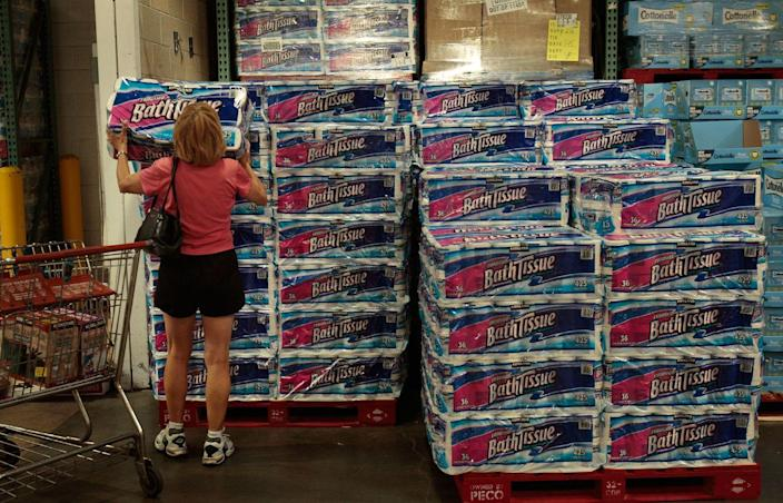 """<p>We're not advocating for stockpiling toilet paper, but <a href=""""https://money.usnews.com/money/blogs/my-money/articles/when-buying-in-bulk-is-really-worth-it"""" rel=""""nofollow noopener"""" target=""""_blank"""" data-ylk=""""slk:buying in bulk"""" class=""""link rapid-noclick-resp"""">buying in bulk</a> simply is the cheapest way to shop at a store like Costco. If you don't have a place to store mountains of paper goods (and really, who does?), <a href=""""https://www.popsugar.com/smart-living/photo-gallery/35890518/image/35894607/Divvy-up-your-deals-friend"""" rel=""""nofollow noopener"""" target=""""_blank"""" data-ylk=""""slk:split the cost with a friend"""" class=""""link rapid-noclick-resp"""">split the cost with a friend</a> and share the supplies.</p>"""