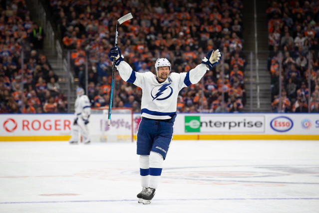 Tampa Bay Lightning defenseman Anton Stralman celebrates a goal against the Edmonton Oilers during the third period of an NHL hockey game Saturday, Dec. 22, 2018, in Edmonton, Alberta. (Codie McLachlan/The Canadian Press via AP)
