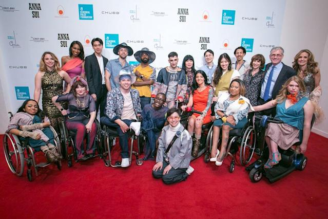 Student designers and models at the Cerebral Palsy Foundation show. (Photo: Jeffrey Holmes)