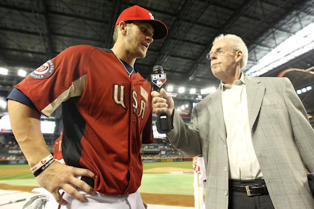 PHOENIX, AZ - JULY 10: U.S. Futures All-Star Bryce Harper #34 of the Washington Nationals is interviewed by Peter Gammons of the MLB Network prior to the 2011 XM All-Star Futures Game at Chase Field on July 10, 2011 in Phoenix, Arizona. (Photo by Christian Petersen/Getty Images)