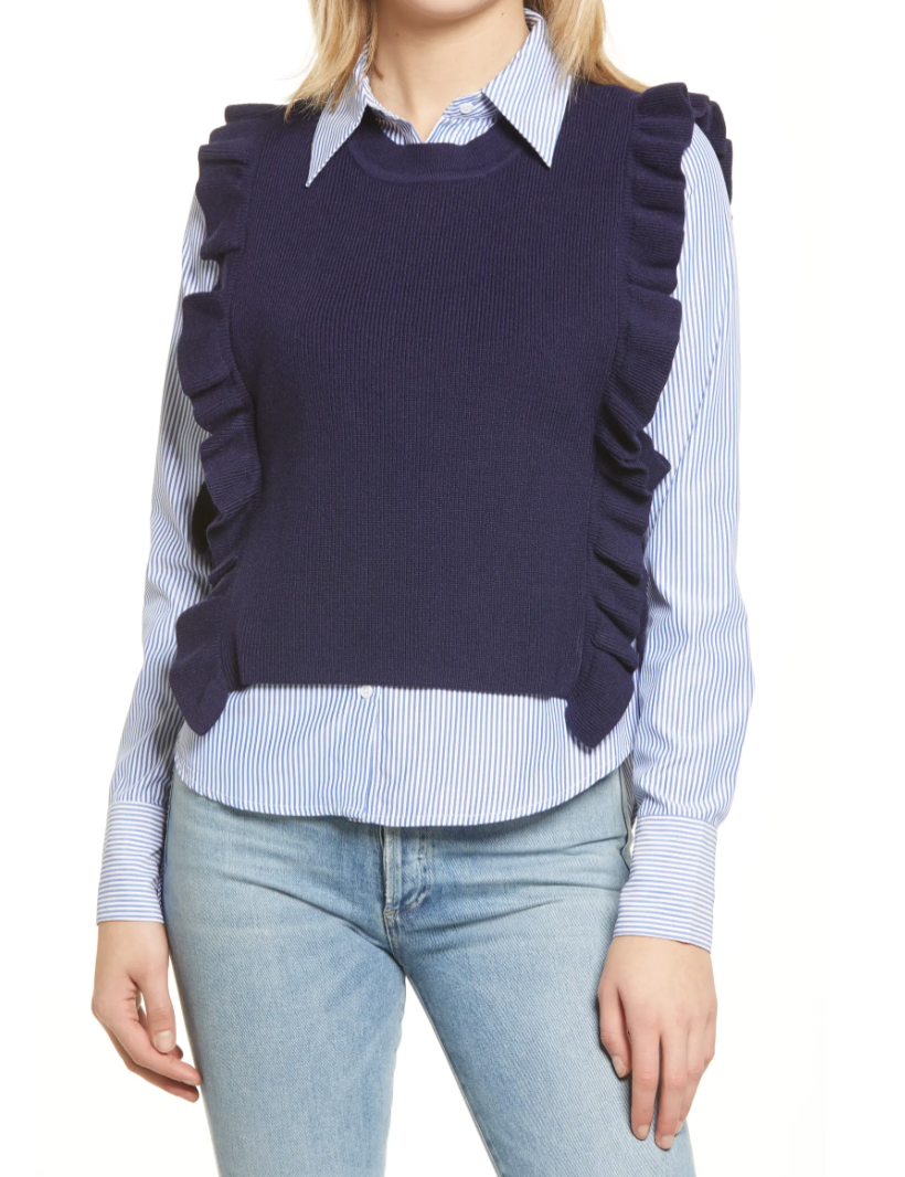 English Factory Combination Sweater Vest & Button-Up Shirt (Photo via Nordstrom)
