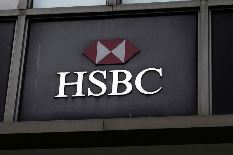 FILE PHOTO: An HSBC bank logo is pictured in New York