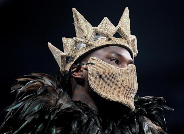 Deontay Wilder dons a costume as he enters the ring to fight Tyson Fury during the WBC heavyweight championship at Staples Center on Dec. 1, 2018 in Los Angeles. (Photo by Harry How/Getty Images)