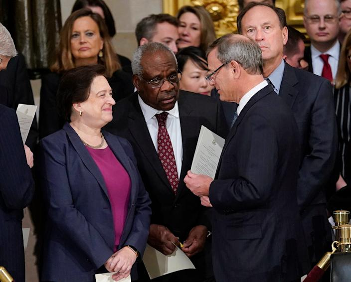 The Supreme Court's three senior conservatives justices are (L to R) Associate Justice Clarence Thomas, Chief Justice John Roberts and Associate Justice Samuel Alito, here with Associate Justice Elena Kagan.