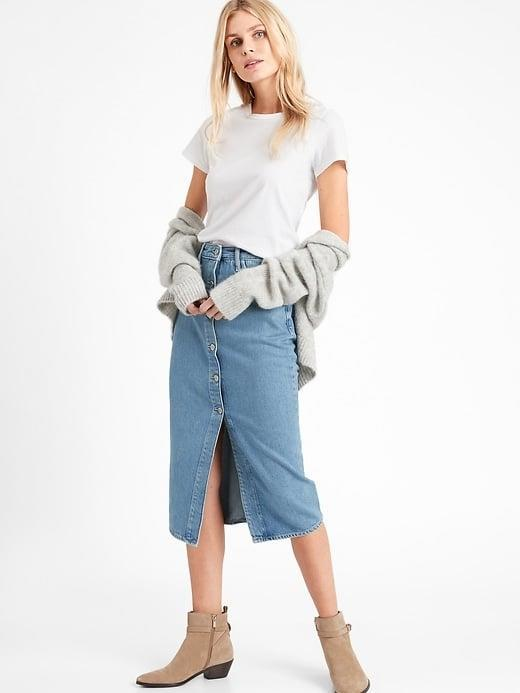 <p>Grab this <span>Banana Republic Denim Midi Skirt</span> ($71, originally $90) early, and pair it with tights until spring comes. </p>