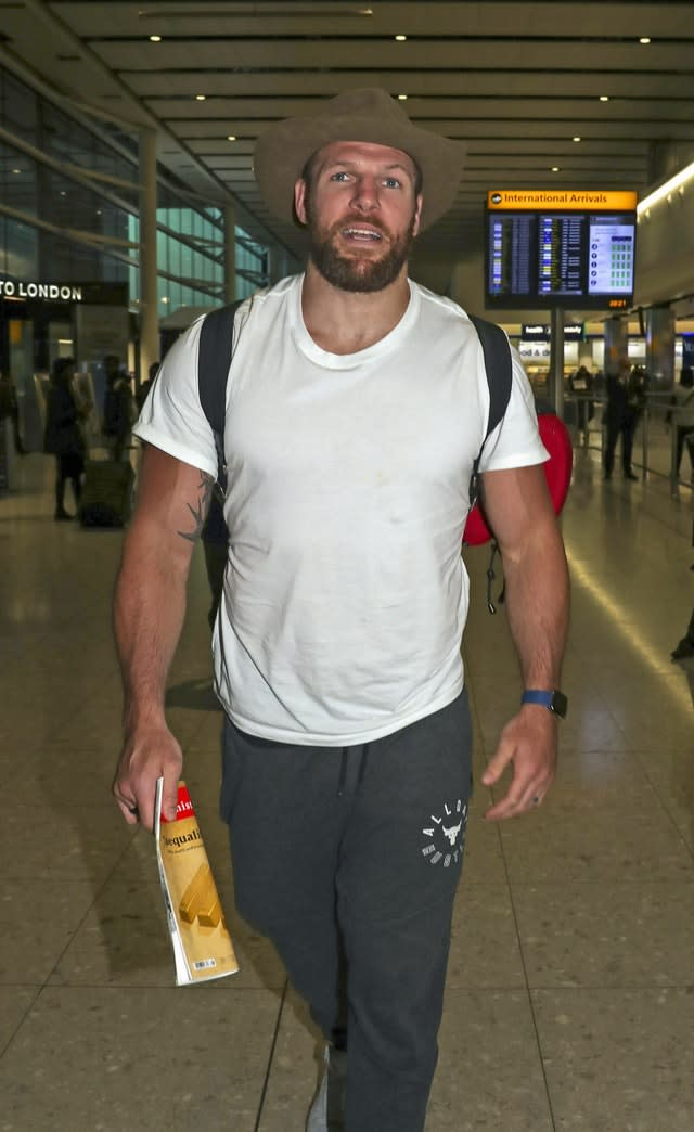 James Haskell arrives back at Heathrow Airport after the 2019 series of I'm A Celebrity