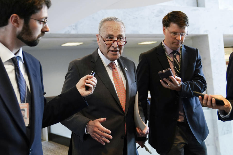 Senate Majority Leader Chuck Schumer of N.Y., talks with reporters on Capitol Hill in Washington, Tuesday, June 8, 2021. (AP Photo/Susan Walsh)