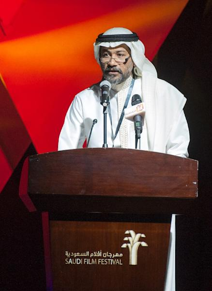 The Saudi film festival director Ahmed al-Mulla speaks during the opening ceremony of the film festival on March 24, 2016, at the Saudi Cultural Center in Dammam, some 400 km eastern of the capital Riyadh (AFP Photo/Hussain Radwan)