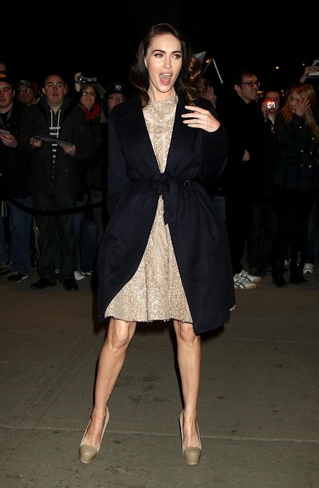 March 5, 2012: Megan Fox seen greeting fans as she arrives at a private screening of 'Friends with Kids' in New York City. Mandatory Credit: Roger Wong/INFphoto.com Ref.: infusny-146|sp|