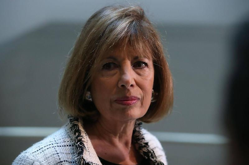 Representative Jackie Speier speaks to reporters after leaving a closed meeting with fellow committee members: Mark Wilson/Getty