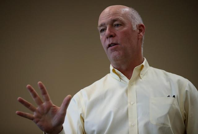 Republican congressional candidate Greg Gianforte speaks to supporters during a campaign meet and greet at Lambros Real Estate on May 24, 2017 in Missoula, Montana. (Photo: Justin Sullivan/Getty Images)
