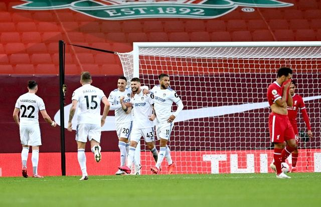 Mateusz Klich (fourth left) scored a brilliant third equaliser for Leeds