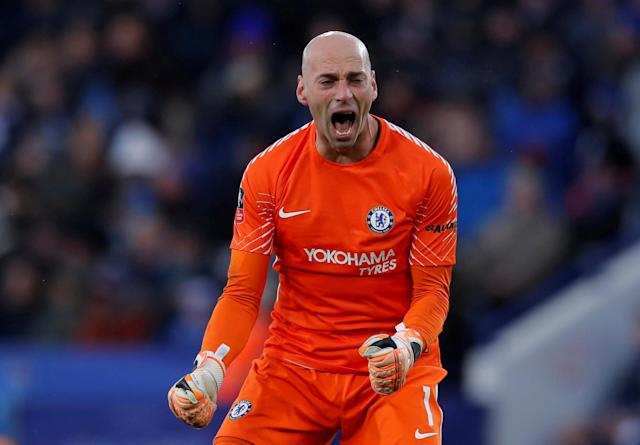 Soccer Football - FA Cup Quarter Final - Leicester City vs Chelsea - King Power Stadium, Leicester, Britain - March 18, 2018 Chelsea's Willy Caballero celebrates after Alvaro Morata scores their first goal Action Images via Reuters/Andrew Couldridge TPX IMAGES OF THE DAY