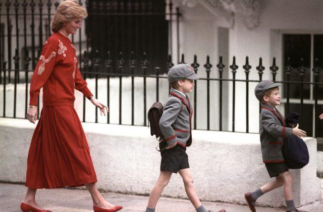 Princess Diana and the Duke of Cambridge accompany Prince Harry on his first day at school