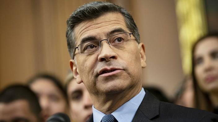 Xavier Becerra, California's attorney general, speaks during a news conference on Capitol Hill in Washington, D.C., U.S., on Tuesday, Nov. 12, 2019. (Al Drago/Bloomberg via Getty Images)