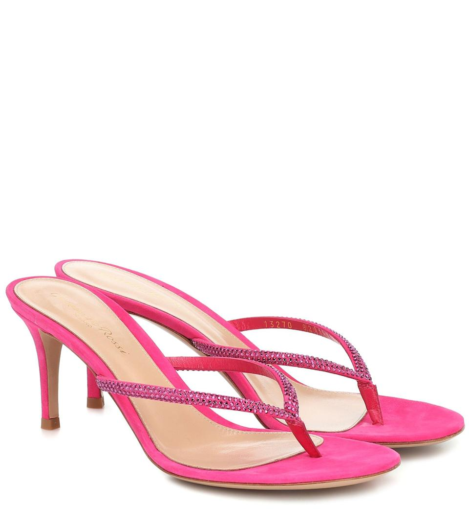 """<p><strong>Gianvito Rossi</strong></p><p>mytheresa.com</p><p><a href=""""https://go.redirectingat.com?id=74968X1596630&url=https%3A%2F%2Fwww.mytheresa.com%2Fen-us%2Fgianvito-rossi-india-70-suede-sandals-1464582.html&sref=https%3A%2F%2Fwww.harpersbazaar.com%2Ffashion%2Ftrends%2Fg36701151%2Fmytheresas-summer-sale-2021%2F"""" rel=""""nofollow noopener"""" target=""""_blank"""" data-ylk=""""slk:Shop Now"""" class=""""link rapid-noclick-resp"""">Shop Now</a></p><p><strong><del>$995 </del>$497 (<strong>50% off)</strong></strong></p>"""