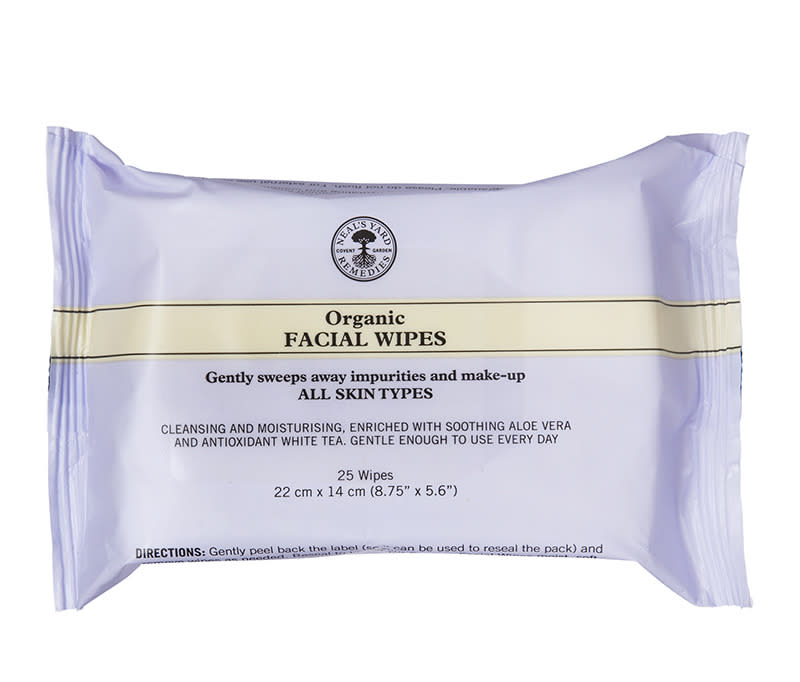 """<p>Feel like the makeup you put on in the morning is pretty much done? Wipe it off with these refreshing, alcohol-free wipes that smell like a dream. <a href=""""https://us.nyrorganic.com/shop/corp/product/1798/organic-facial-wipes-x25-wipes/"""">Neal's Yard Organic Facial Wipes</a>, $9 (Photo courtesy Neal's Yard) </p>"""