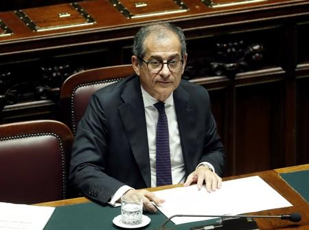 Italian Economy Minister Giovanni Tria is seen in parliament as he speaks over the looming EU disciplinary action against Italy for excessive debt, in Rome