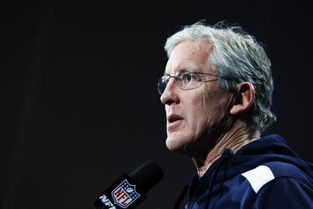 Seattle Seahawks head coach Carroll speaks during a news conference at Newport in New Jersey