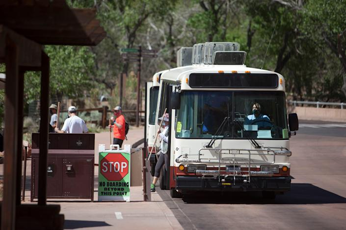 Zion National Park shuttles transport visitors through the park Thursday, May 6, 2021.