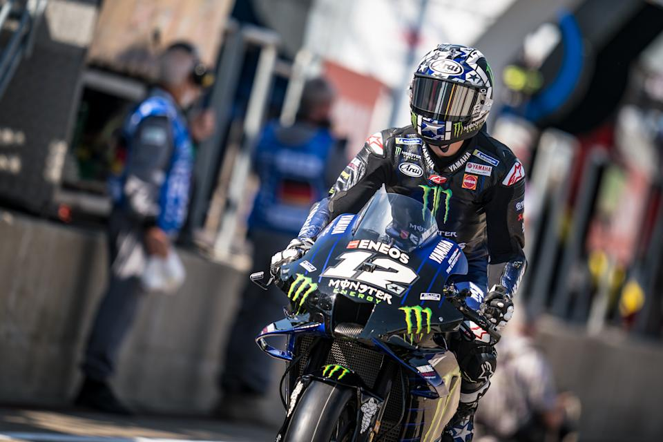 HOHENSTEIN-ERNSTTHAL, GERMANY - JUNE 18: Maverick Viñales of Spain and Monster Energy Yamaha MotoGP starts his session during the MotoGP Liqui Moly Motorrad Grand Prix Deutschland at Sachsenring Circuit on June 18, 2021 in Hohenstein-Ernstthal, Germany. (Photo by Steve Wobser/Getty Images)