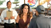 "<p>Salma Hayek plays a Burger King employee who eagerly asks to role-play different customers in a training session for Burger King in this <a href=""https://www.youtube.com/watch?v=4VQNSlN42h8"" rel=""nofollow noopener"" target=""_blank"" data-ylk=""slk:2013 spot"" class=""link rapid-noclick-resp"">2013 spot</a>.</p>"