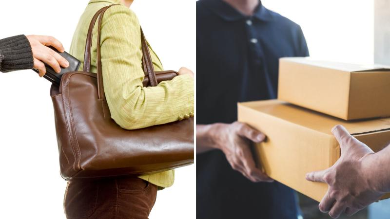 A pickpocket taking a wallet from a woman's handbag on the left and a package delivery at the door of a home.