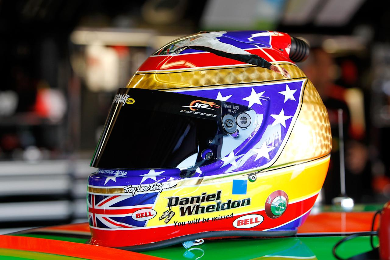 FORT WORTH, TX - NOVEMBER 04:  A detail of the helmet which will be worn by Danica Patrick, driver of the #7 GoDaddy.com /DanWheldonMemorial.com Chevrolet, during practice for the NASCAR Nationwide Series O'Reilly Auto Parts Challenge at Texas Motor Speedway on November 4, 2011 in Fort Worth, Texas. The helmet design is in memory of IRL driver Dan Wheldon who died in a multiple car wreck while driving in the IZOD IndyCar World Championships at Las Vegas on October 16.  (Photo by Jonathan Ferrey/Getty Images)