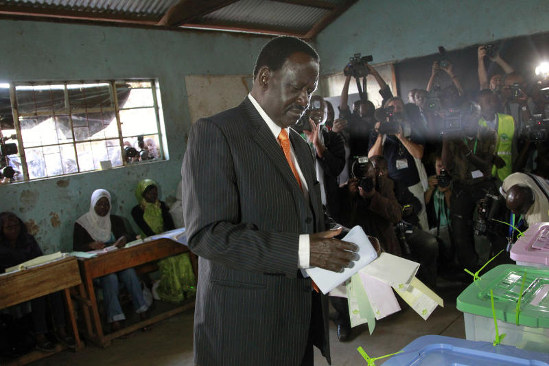 Kenyan Prime Minister and presidential candidate Raila Odinga gets ready to cast his ballot in Nairobi, Kenya Monday, March 4, 2013. Kenya is holding its first presidential election since the 2007 vote which ushered in months of tribal violence that killed more than 1,000 people and displaced 600,000 from their homes. (AP Photo/Jerome Delay)