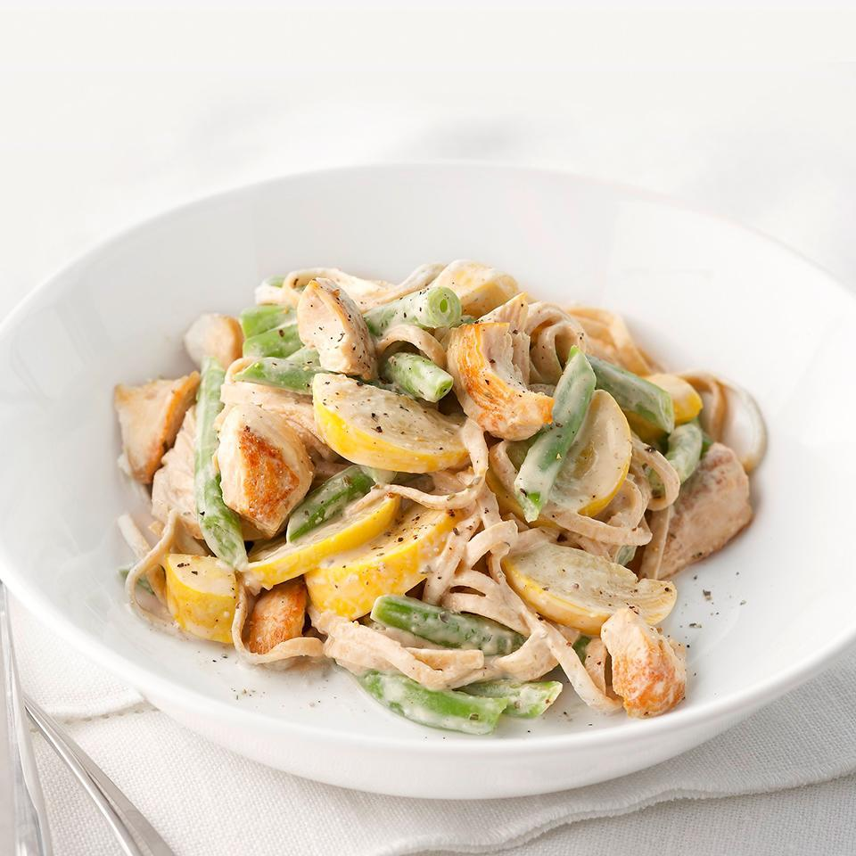 <p>This creamy and delicious summery twist on fettuccine alfredo is sure to become your new favorite pasta meal.</p>