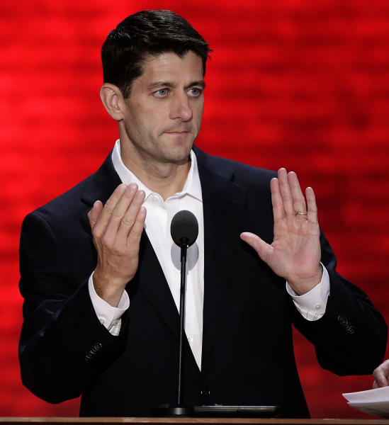 Republican vice presidential nominee, Rep. Paul Ryan of Wisconsin checks out the TelePrompTer during this podium sound check during the Republican National Convention in Tampa, Fla., on Wednesday, Aug. 29, 2012. (AP Photo/J. Scott Applewhite)